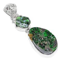 Clearance-Natural green uvarovite garnet chrome diopside rough 925 silver pendant k72966