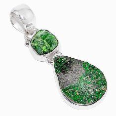 Clearance-Natural green uvarovite garnet chrome diopside rough 925 silver pendant k72972