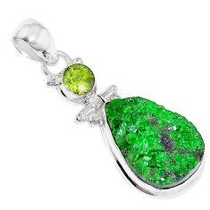 17.57cts natural green uvarovite garnet peridot 925 silver pendant k72993