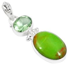 Clearance-Natural green gaspeite amethyst 925 sterling silver pendant jewelry k73159