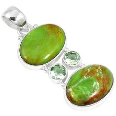 Clearance-Natural green gaspeite amethyst 925 sterling silver pendant jewelry k73208