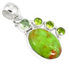Clearance-Natural green gaspeite oval peridot 925 sterling silver pendant k73210