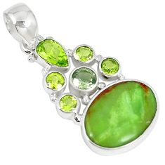 Clearance-Natural green gaspeite peridot 925 sterling silver pendant jewelry k73212