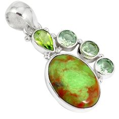 Clearance-Natural green gaspeite peridot 925 sterling silver pendant jewelry k73213