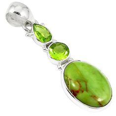 Clearance-925 sterling silver natural green gaspeite peridot pendant jewelry k73214