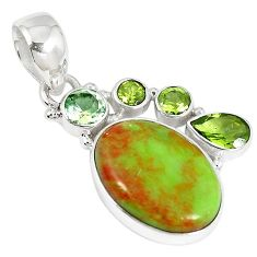 Clearance-Natural green gaspeite peridot 925 sterling silver pendant jewelry k73215
