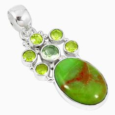 Clearance-Natural green gaspeite peridot 925 sterling silver pendant jewelry k73216