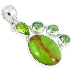 Clearance-Natural green gaspeite peridot 925 sterling silver pendant jewelry k73218