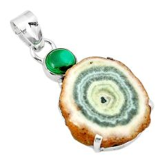 Clearance-925 sterling silver natural white solar eye druzy pendant jewelry k77297