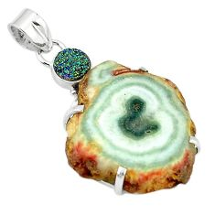 Clearance-Natural white solar eye druzy 925 sterling silver pendant jewelry k77298