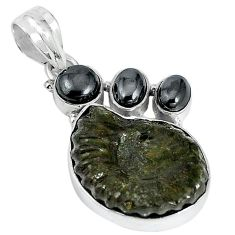 Natural brown pyrite ammonite hematite 925 silver pendant jewelry k87197