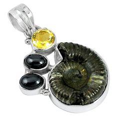 925 silver natural brown pyrite ammonite hematite citrine pendant k87199