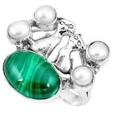 Clearance-Natural green malachite (pilot's stone) 925 silver two cats ring size 9 k61430