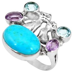 Clearance-Blue arizona mohave turquoise topaz 925 silver two cats ring size 9 k61432