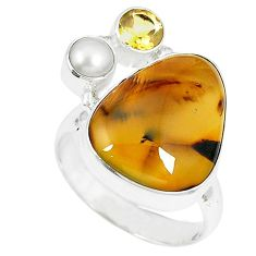 Clearance-Natural scenic russian dendritic agate citrine 925 silver ring size 9 k65645