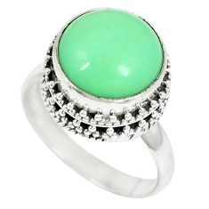 Clearance-Natural green variscite 925 sterling silver ring jewelry size 9 k65821