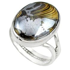 Natural yellow schalenblende polen 925 silver ring jewelry size 8 k72001