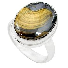 Clearance-Natural yellow schalenblende polen 925 sterling silver ring size 7.5 k72025