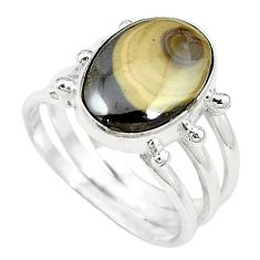 Clearance-Natural yellow schalenblende polen 925 silver ring jewelry size 9 k72030