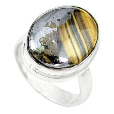 Clearance-925 silver natural yellow schalenblende polen oval ring size 5 k72033