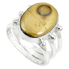 Clearance-Natural yellow schalenblende polen 925 sterling silver ring size 5 k72037