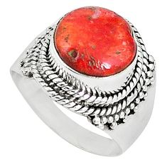 Natural red sponge coral 925 sterling silver ring jewelry size 7 k87009