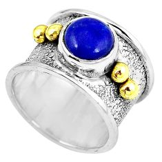 Victorian natural blue lapis lazuli 925 silver two tone band ring size 6 k90440