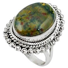 Natural green bloodstone african (heliotrope) 925 silver ring size 7 k92384