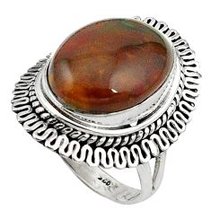 Natural green bloodstone african (heliotrope) 925 silver ring size 7 k92413