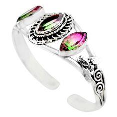 Watermelon tourmaline (lab) 925 silver adjustable bangle jewelry m10368