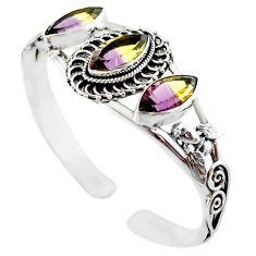 Multi color ametrine (lab) 925 sterling silver adjustable bangle jewelry m10371