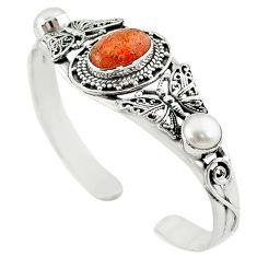 925 silver natural orange sunstone (hematite feldspar) adjustable bangle m10378
