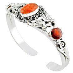Natural orange sunstone (hematite feldspar) 925 silver adjustable bangle m10380