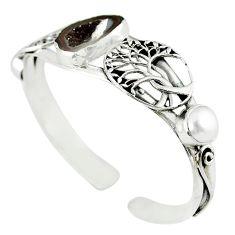 Natural brown geode druzy pearl 925 silver adjustable bangle m10383