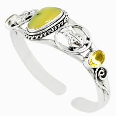 Natural yellow opal citrine 925 silver adjustable bangle jewelry m10385