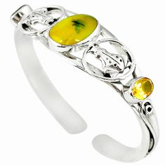 Natural yellow opal citrine 925 sterling silver adjustable bangle m10386