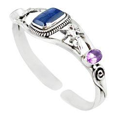 Natural blue iolite purple amethyst 925 silver adjustable bangle m10393