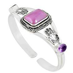 Natural purple phosphosiderite (hope stone) 925 silver adjustable bangle m10394