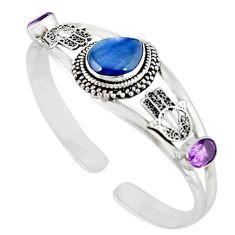 Natural blue kyanite amethyst 925 silver adjustable bangle jewelry m10397