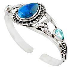 Natural blue swedish slag topaz 925 silver adjustable bangle jewelry m10401