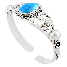 Natural blue swedish slag pearl 925 silver adjustable bangle jewelry m10402