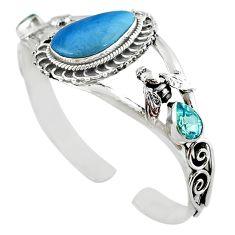 Natural blue swedish slag topaz 925 silver adjustable bangle jewelry m10403