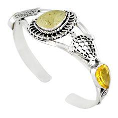 Cab libyan desert glass (gold tektite) 925 silver adjustable bangle m10406
