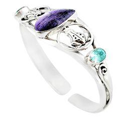 925 silver natural purple sugilite blue topaz adjustable bangle jewelry m10408