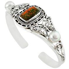 Natural multi color ammolite (canadian) 925 silver adjustable bangle m10410