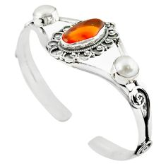 925 silver natural multi color mexican fire opal pearl adjustable bangle m10416
