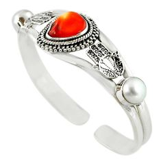 Natural multi color mexican fire opal pearl 925 silver adjustable bangle m10417