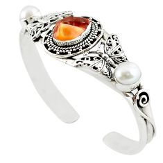 Natural multi color mexican fire opal pearl 925 silver adjustable bangle m10418