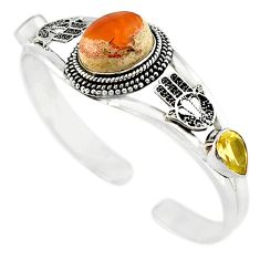 925 silver natural multi color mexican fire opal adjustable bangle m10420
