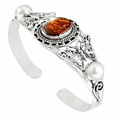 Natural multi color mexican fire agate 925 silver adjustable bangle m10421